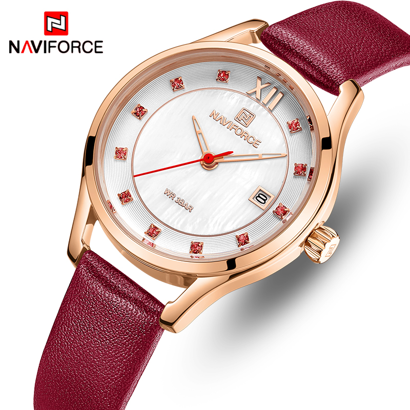 NAVIFORCE Hot Women Watches Top Brand Fashion Leather Waterproof Wristwatch For Women Dress Quartz Ladies Watch Relogio Feminino
