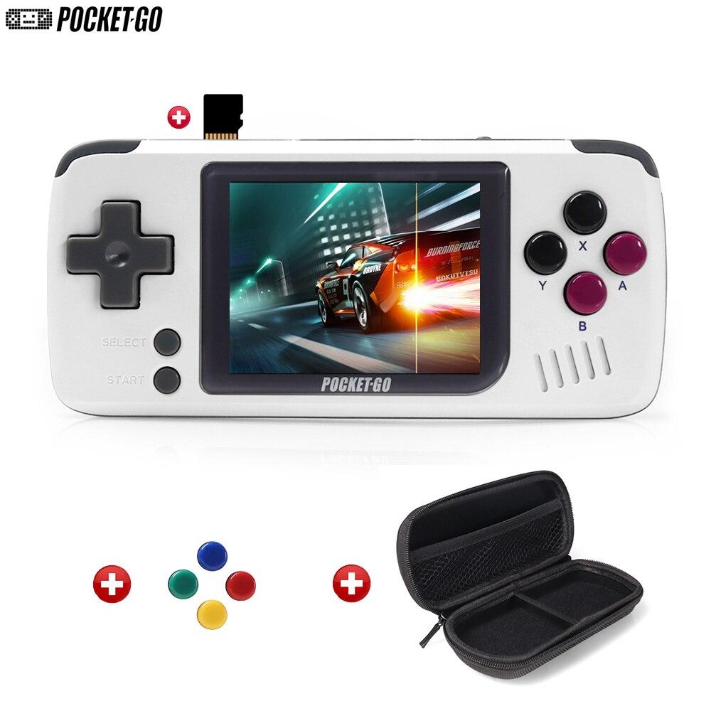 Consola de juegos, PocketGo, consola de videojuegos Retro de mano, pantalla de 2,4 pulgadas portátil para niños jugadores de juegos con tarjeta de memoria