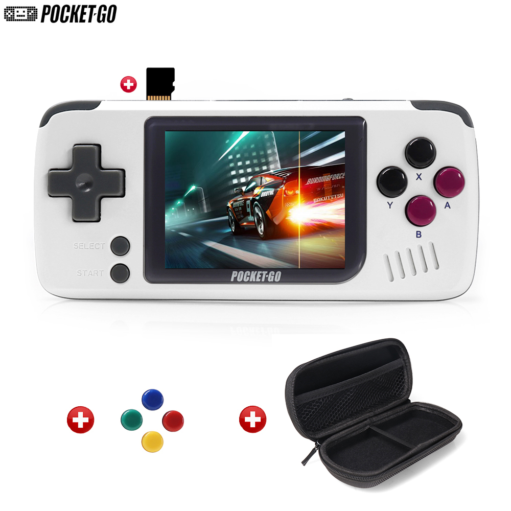 Game Console,PocketGo,Video Game Console Retro Handheld, 2.4inch screen portable children game players with memory card(China)