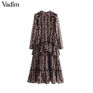 Image 2 - Vadim women elegant ruffled floral print dress long sleeve o neck midi dress female retro sweet dresses vestidos QC802