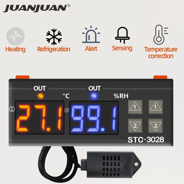 STC 3028 טמפרטורת בקר טרמוסטט בקרת לחות מדחום מדדי לחות בקר Thermoregulator 12V/24V/220V 40%
