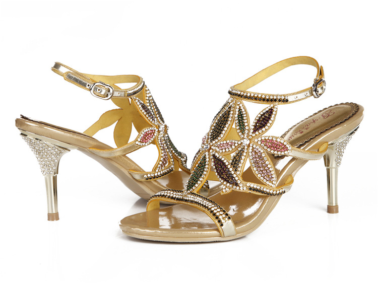 G-sparrow New Large Size Diamond Gold Crystal Wedding High Heeled Sandals Rhinestone Thick Heel Elegant Shoes11