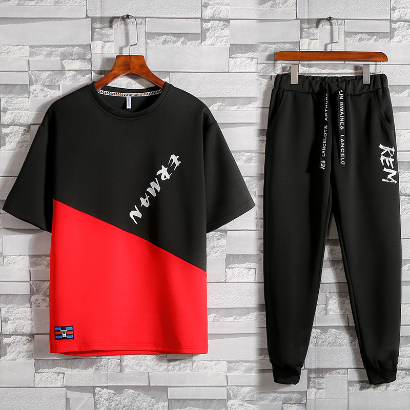 2019 Summer New Products Mixed Colors Fashion Printing Short-sleeved T-shirt Trend Capri Pants Leisure Sports Suit Two-Piece Set