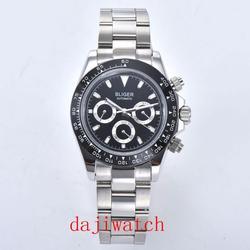 BLIGER39mm top marka wysokiej jakości męski zegarek mechaniczny z funkcją daty szkło automatyczny ruch mężczyźni