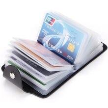 Portatarjetas de PU de 24 Bits para hombre y mujer, funda de Color sólido, organizador de tarjetas de identificación de negocios, billetera portátil, suministros, 1 ud.