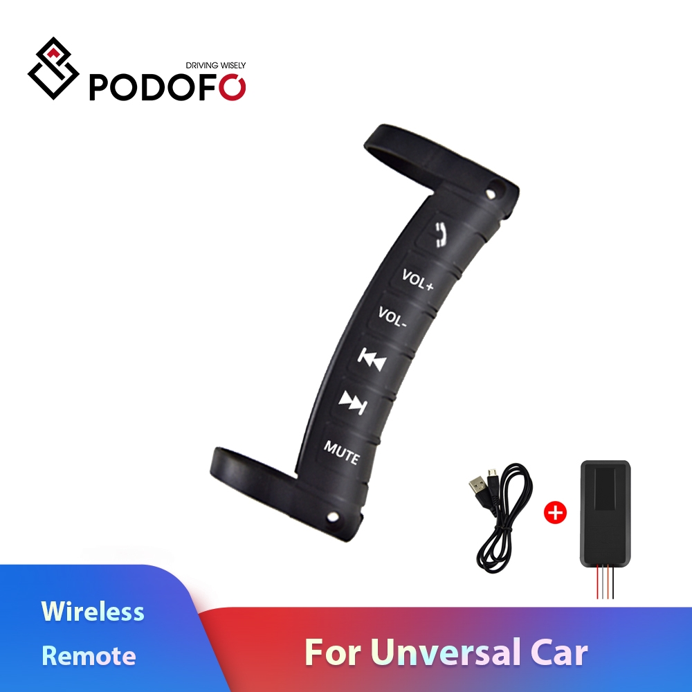 Podofo Wireless Remote Controller Use To DVD GPS Player Steering Wheel Remote Control Button For Universal Multi-function Car