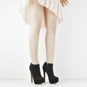 Image 3 - Onlymaker נשים של פלטפורמה סקסי עקב גבוה נעלי קרסול רוכסן צד פגיון פלוק מגפי Blus גודל US5 ~ US15