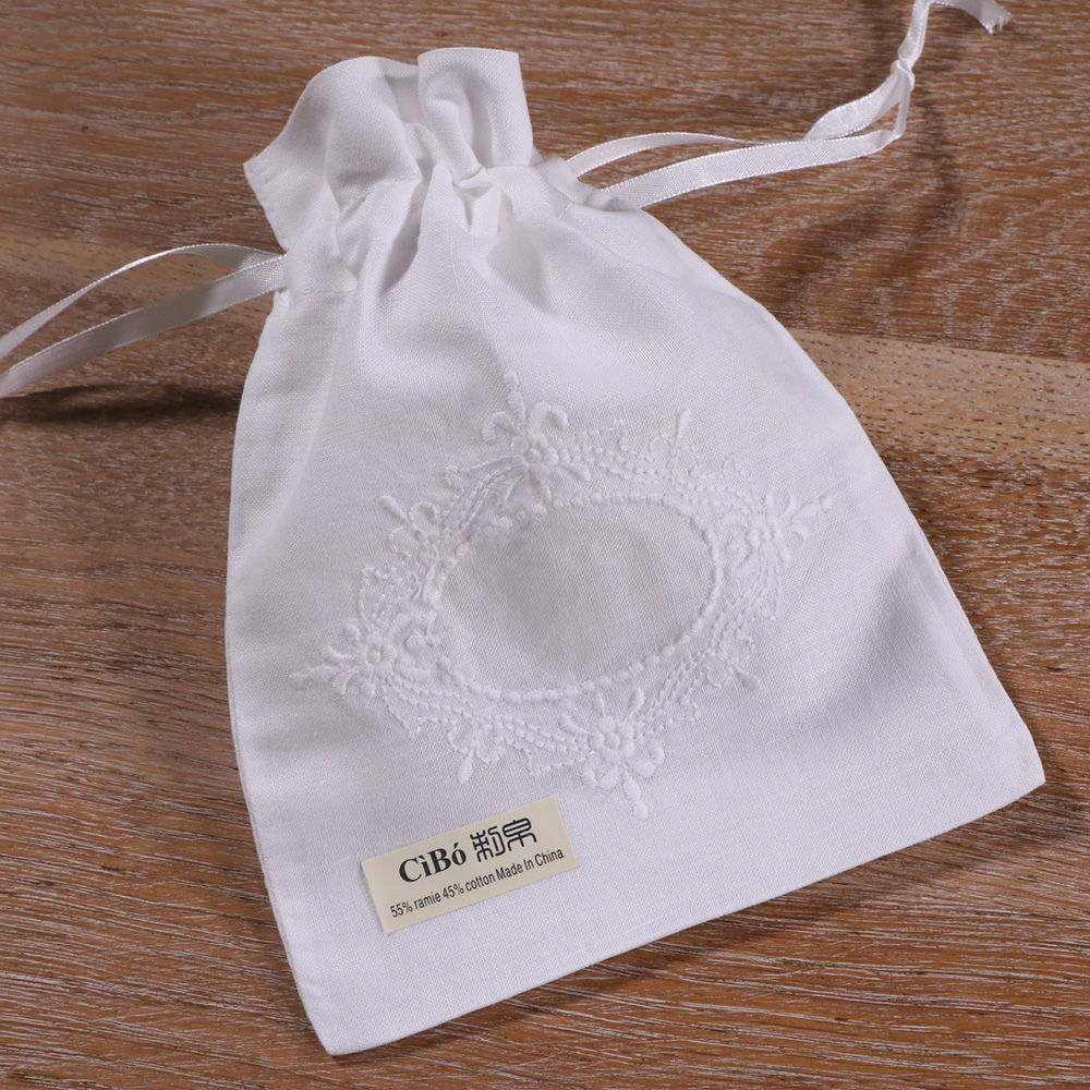B018:1piece White Ramie Cotton  Embroidery  Gift Sachet Bags Travel Storage Pouch Drawstring Bags