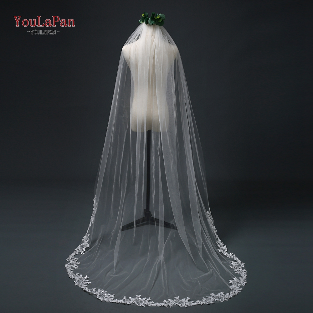 YouLaPan  White Ivory Cathedral Wedding Veils Long Lace Edge Bridal Veil With Comb  Luxury Cathedral Veil Party Bridal Veil VE01