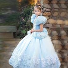Роскошное роскошное платье Золушки, одежда для девочек на Рождество, Хэллоуин вечерние вечеринку, костюм для детей, на день рождения, свадеб...