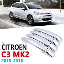 Chrome Lidar Com Cobertura de Guarnição para Citroen C3 Mk2 2010 ~ 2016 4-porta Acessórios Adesivos de Carro Styling 2009 2010 2011 2012 2013 2014 2015
