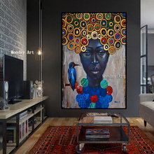 Canvas painting 100% Hand painted African Women Portrait Oil Painting Art decorative picture Wall Picture for Living Room