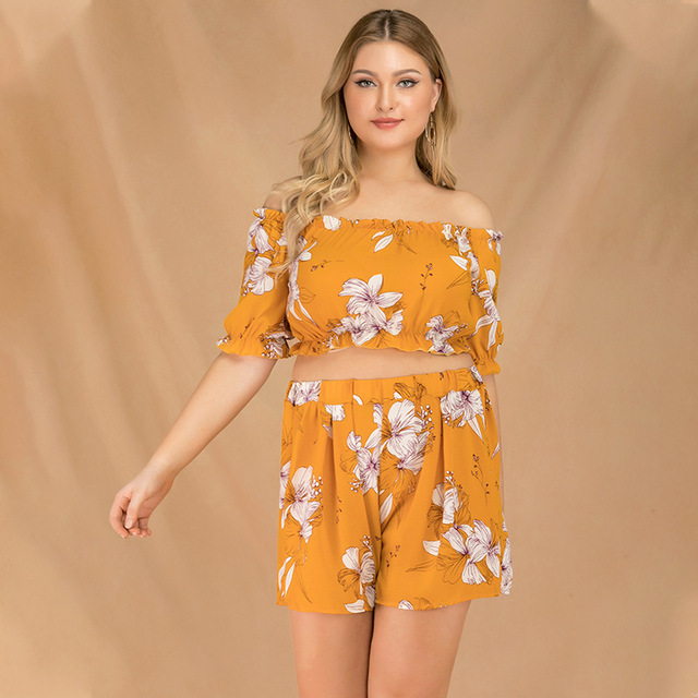 2019 new summer plus size sets for women large short sleeve loose off Shoulder jumpsuits tops and shorts yellow 4XL 5XL 6XL 7XL 2