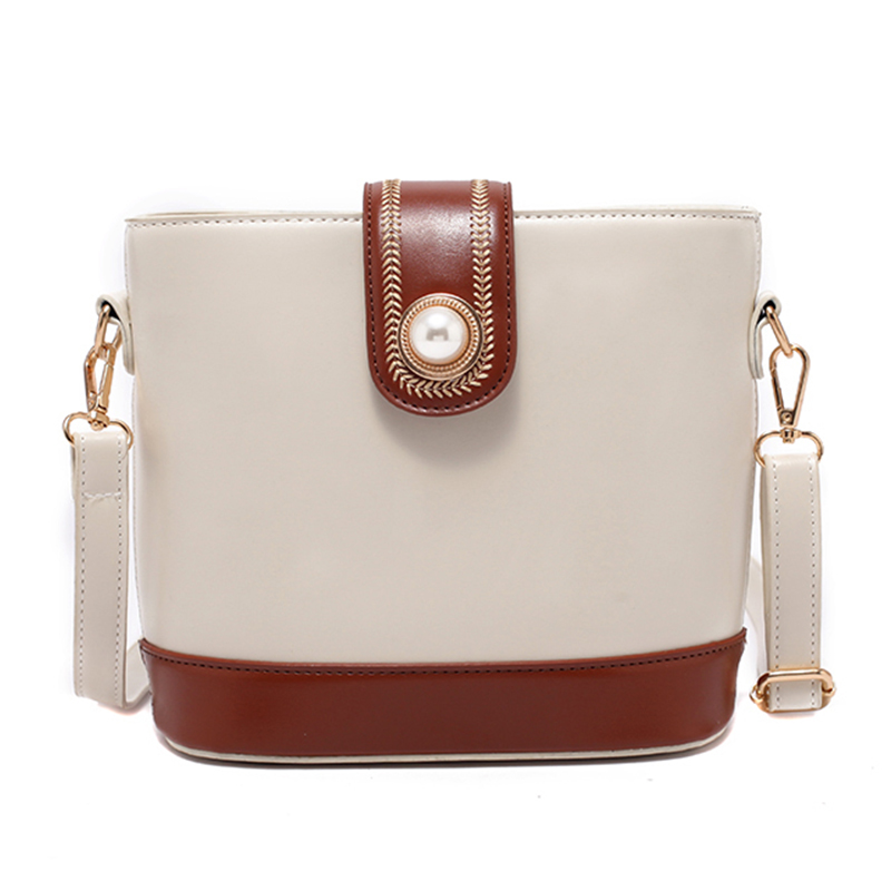 Bucket Women's Bag High-quality Pu Leather Fashion Pearl Cross-body Bags Large Capacity Luxury Stitching Women's Shoulder Bags