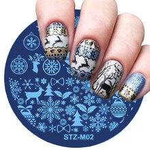 1 قطعة عيد الميلاد مسمار ختم لوحات ندفة الثلج الغزلان الشتاء صورة لوحة لتقوم بها بنفسك مسمار تصاميم الإستنسل ل مانيكير أدوات JISTZM01 10