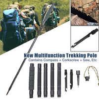 Multifonctionnel Trekking pôle aluminium pliant ultraléger rapide serrure Trekking pôles randonnée pôle extérieur bâton survie outil