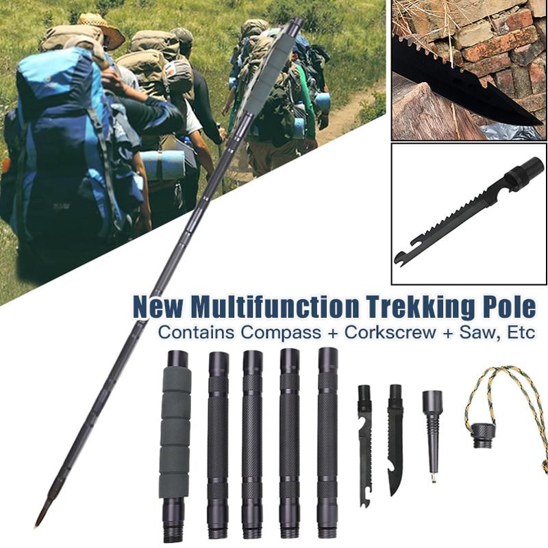 Multifunctional Trekking Pole Aluminum Folding Ultralight Quick Lock Trekking Poles Hiking Pole Outdoor Stick Survival Tool