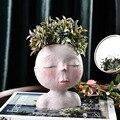 Ваза в скандинавском стиле с головой человека  цветочный горшок  скульптура в форме куклы  портретный цветочный горшок из смолы  художестве...