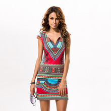 Women African style Fashion National Printed Tight Dress clothes JQ-10009