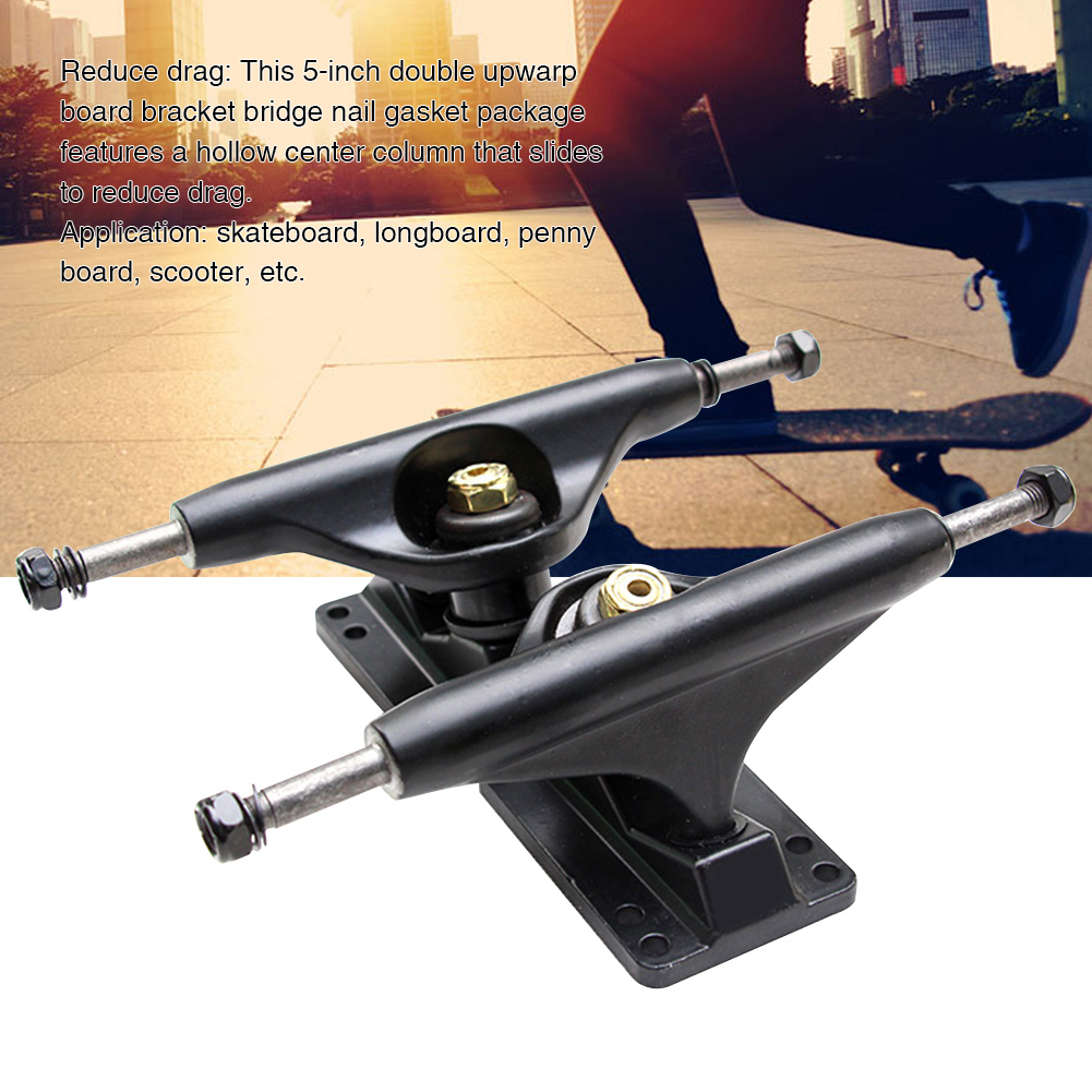 5 Inches Outdoor Sports Independent Bridge Aluminum Alloy Easy Install Skateboard Truck Universal Shockproof Double Rocker