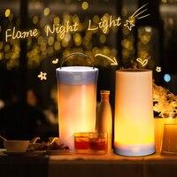 Luz Nocturna LED DC 5V lámpara LED USB emulación parpadeante 3 modos + Sensor de gravedad + luz nocturna con efecto de llama magnética portátil