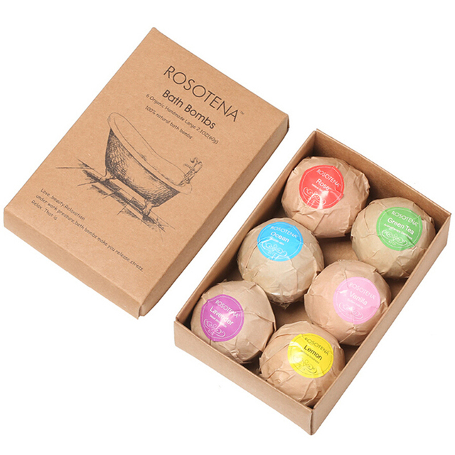 60g 6pcs Organic Bath Salt Body Essential Bath Ball Body Skin Whitening Ease Relax Stress Relief Natural Bubble Bath Bombs Ball 4