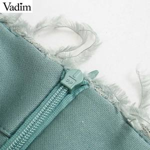 Image 5 - Vadim women stylish feather mini skirt tassels back zipper stretchy slim fit female solid casual chic skirts mujer BA867
