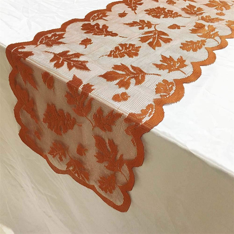 13 Inch X72 Inch /33X183cm Maple Leaf Lace Table Runner For Fall Dinner Parties Restaurant Décor