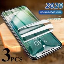 3 pçs capa completa protetor de tela de filme de hidrogel para iphone 12 11 pro max protetor de tela no iphone x xr xs max 6 7 8 mais 5S se