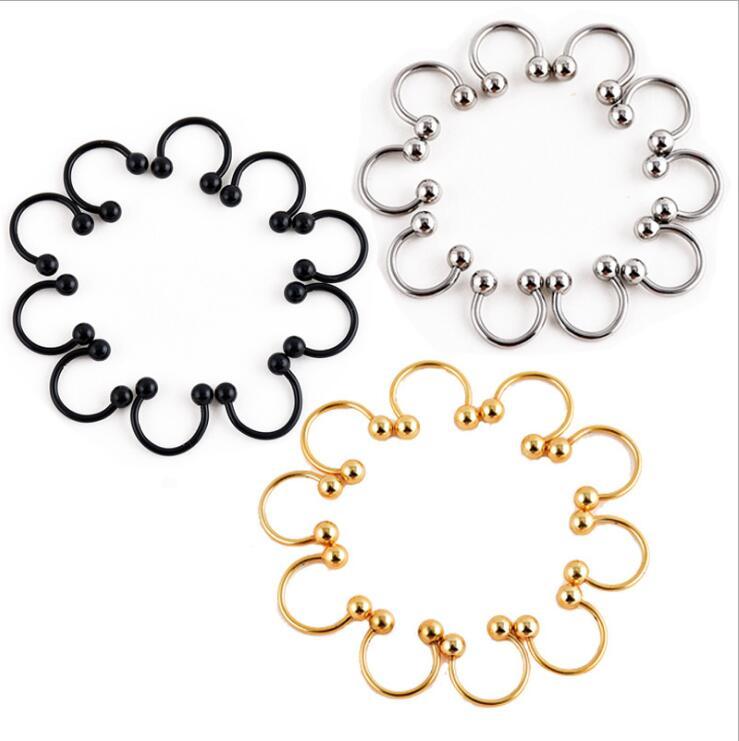 10 Pçs/lote 316L Circular Barbells Horseshoe Lip Sobrancelha Anel de Aço Inoxidável Cirúrgico Nose Studs Body Piercing Jóias