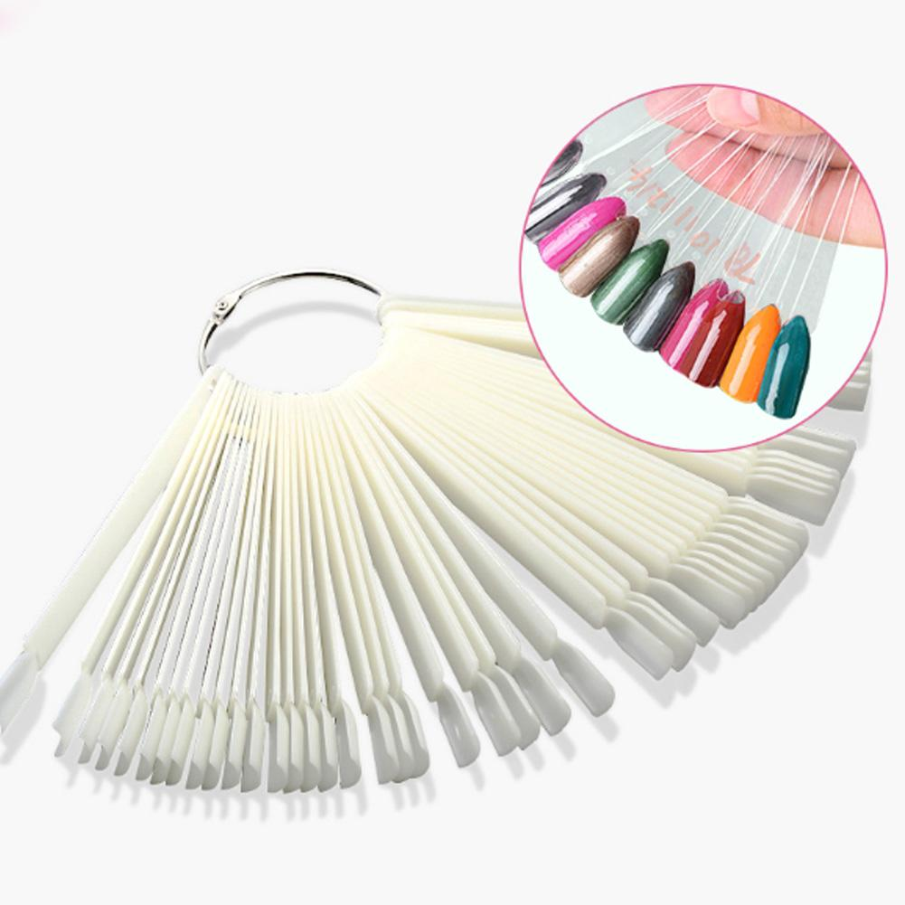 50pcs False Nail Tips Fan Shaped Fake Nail Art Tips Polish UV Gel Sticker Decoration Practice Display Stick Salon Tools