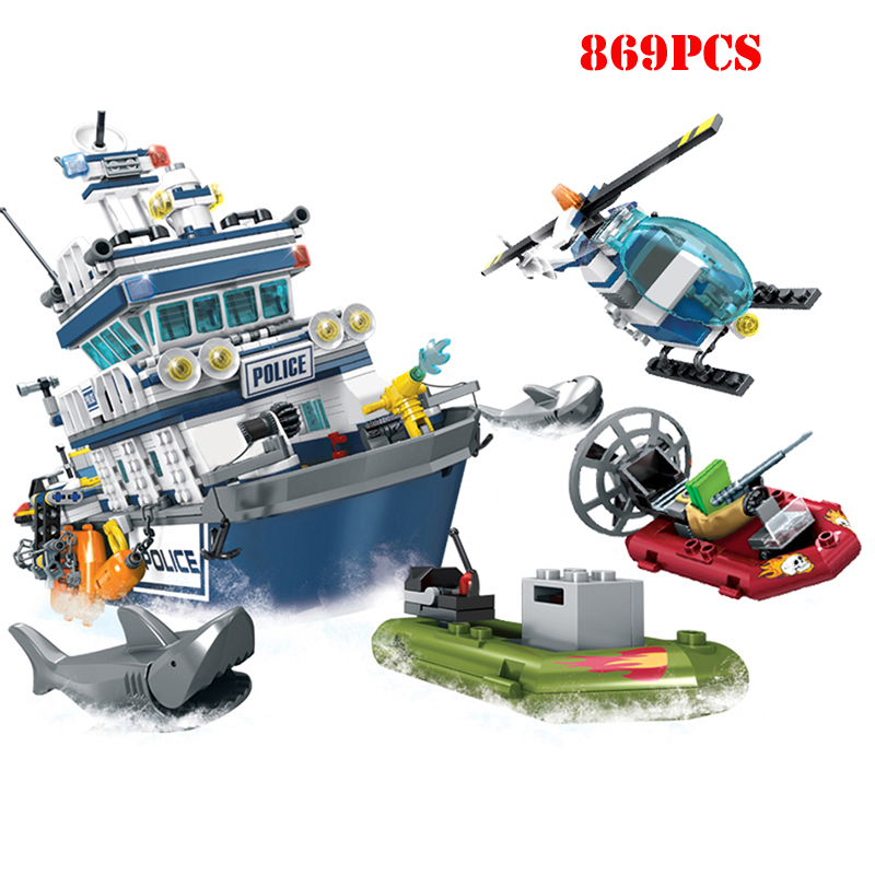 869+pcs City Police Patrol Boat Helicopter Building Blocks Action Figures Compatible Technic Bricks Toys For ChildrenBlocks   -