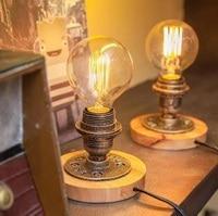 LukLoy الأمريكية الصناعية الجدول مصباح LED الرجعية السرير الإضاءة غرفة نوم تركيبات إضاءة LED خشبية ضوء الجدول الإضاءة مقهى بار-في مصابيح طاولة LED من مصابيح وإضاءات على
