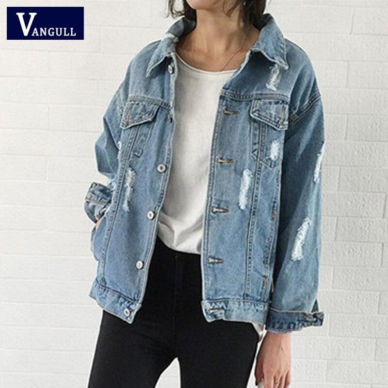 Женское базовое пальто Джинсовая куртка с дырками 2019 весенне осенняя Повседневная новая джинсовая куртка с длинными рукавами свободное приталенное Стильное однотонное джинсовое пальто