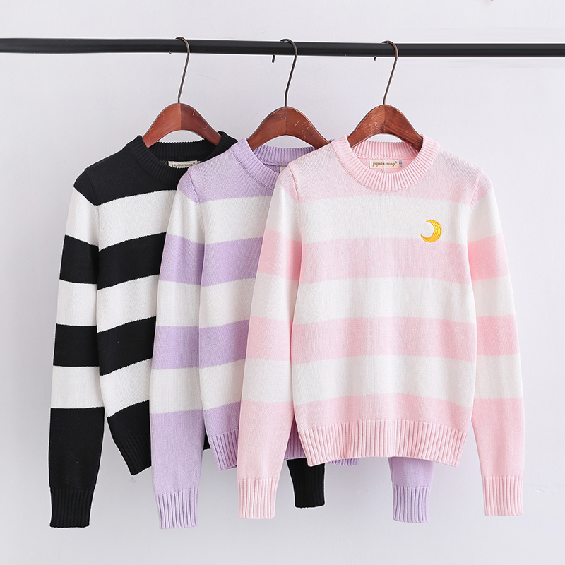 Long Sleeve Knit Pullover Sweater Pink White Stripes Lovely Purple White Stripes Black White Stripes