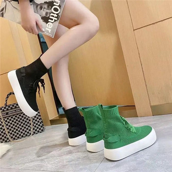 Nowa marka zasznurować buty z dzianiny damskie buty okrągłe Toe Stretch płaskie buty damskie projektant Casual buty platformy dla kobiet Zapatos tanie i dobre opinie JIAMEN Płaskie z SZTYBLETY Siateczka (przepuszczająca powietrze) CN (pochodzenie) Na wiosnę jesień Do kolan Punk Mesh