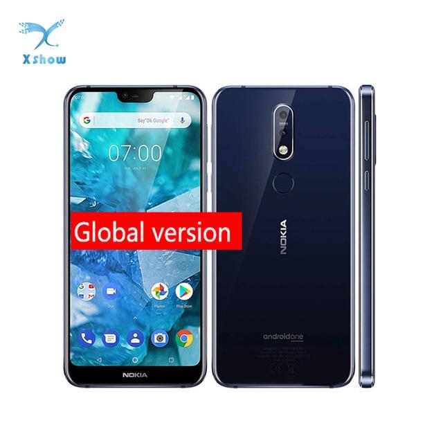 "Nokia 7.1 küresel sürüm cep telefonu NFC 5.84 ""Snapdragon 636 Octa çekirdek 4GB RAM 64GB ROM parmak izi NFC cep telefonu"