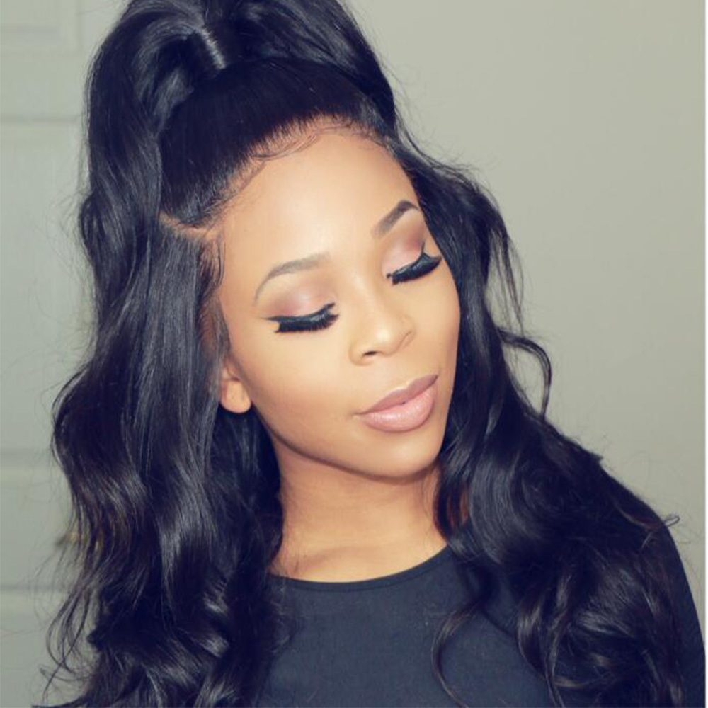Grande Taille Femme 13*6 Cabelo Humano Lace Front Human Hair Half Up Half Down Wig  Remy Hair Body Wave Wigs Baby Hair Women