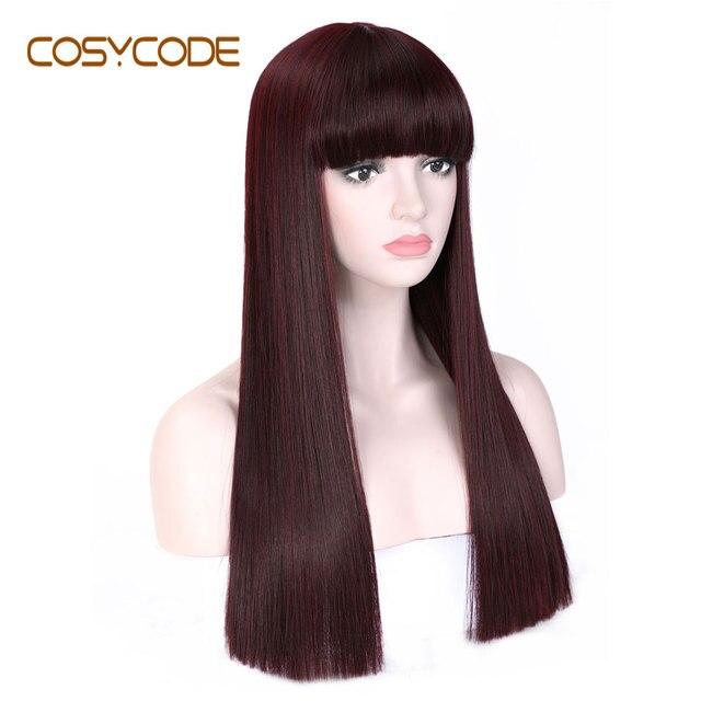 Cosycode 99j peruca cosplay com franja 22 polegada longa peruca reta para mulher não laço peruca sintética traje resistente ao calor
