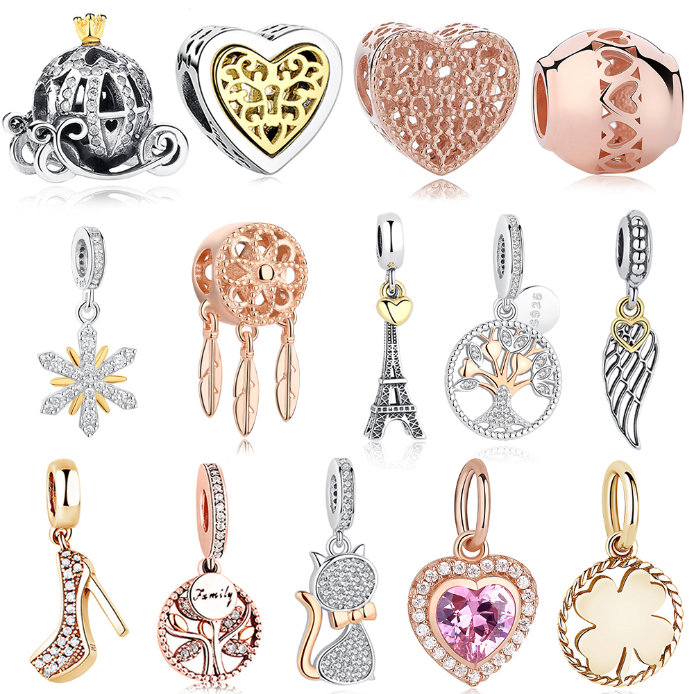 Fashion Rose Gold Tree Feather Heart Charms Beads Fit Original Pandora Bracelet Women 925 Sterling Silver Jewelry Accessories(China)