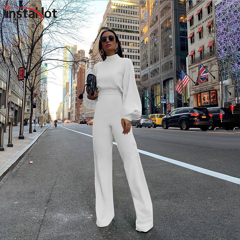 InstaHot Puff Elegant Women Two Piece Set Puff Long Sleeve And Flare Pants Autumn Office Ladies Sets Casual Fashion 2piece Sets