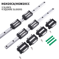 2pc linear guide HGR20 HGH20 arbitrary length +4pc HGH20CA/HGW20CC linear bearing slider nc parts square guide
