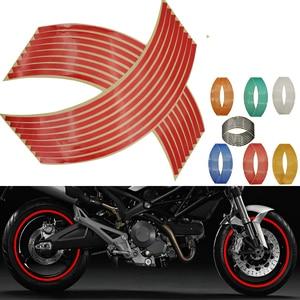 16Pcs Motorcycle Car Wheel Tire Stickers Reflective Rim Tape Moto Auto Decals For Honda x11 cb 190r 400 1000r cbf 1000 600(China)