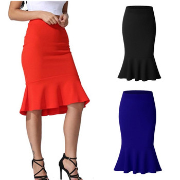 Women Skirts Autumn Winter Fishtail Solid Bag Hip Skirts New Women Fashion Elegant Bodycon High Waist Mermaid Bag Hip Skirts fishtail design bag accessory