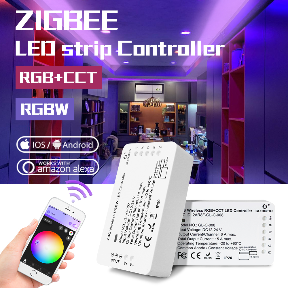 GLEDOPTO DC12-24V Smart RGBW/RGB+CCT LED Light Strip Controllers,zigbee,controller,Automation Devices,Voice Control,App Control