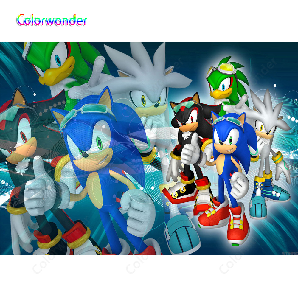 Photography Blue Sliver And Black Hedgehogs With Green Jet The Hawk In The Modern World Backgrounds Backdrops For Kids Birthday Background Aliexpress