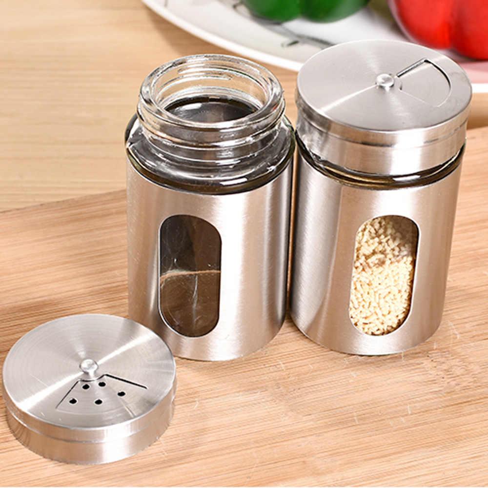 Roestvrijstalen Kruidkruik Zout Suiker Peper Spice Shaker Kruiden Kan Met Roterende Cover Bbq Spice Opslag Fles Keuken Tool