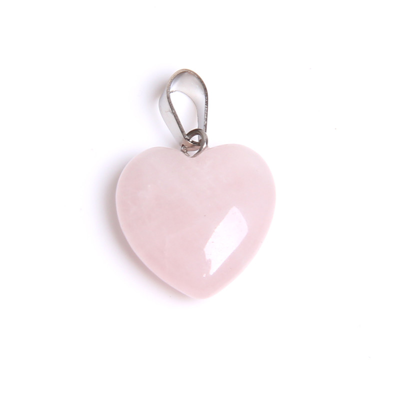 1pc Natural pink quartz stone pendant love heart stone pendants charm for jewelry making handmade necklace charm Free Shipping