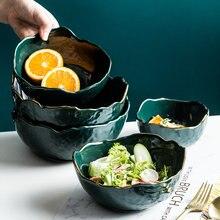 Criativo cerâmica tigela de salada de frutas com borda dourada luxo verde tigela de macarrão porcelana tigela de arroz servindo tigela de café da manhã cozinha