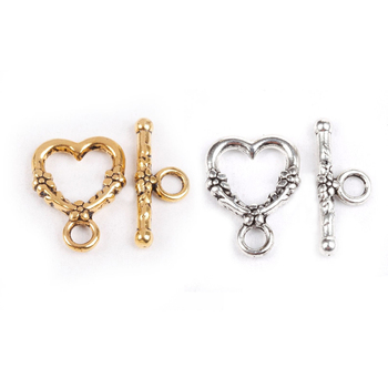 20 Sets Antique Heart Shaped Ring Hook Toggle Clasp Hooks Findings For Jewelry Making Competent Diy Bracelet Necklace Wholesale image